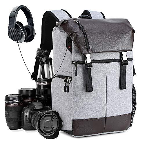 【進化版】カメラバッグ カメラバックパック リュック 16インチパソコン収納可 一眼レフ レンズ 三脚取り付け可 防水材質 USB&ヘッドホンケーブル穴付き 安全設計 男女兼用 (強化版カメラリュック)