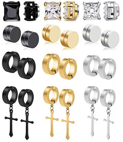 CARSHIER 12 Pairs Stainless Steel Clip On Non-Pierced Earrings for Mens Womens Magnetic CZ Earrings Dangle Earrings Set