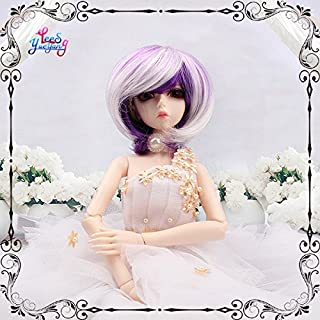 Wigs Only! Chic Short Purple White Blended BJD Doll Wigs 1/3 1/4 1/6 1/8 for Choice