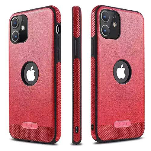 mikki Funda iPhone 11 Cuero y Carcasa Protectora antigolpes con un Parachoques deTPU Suave Flexible (Slim Delgada) Anti-choques Compatible para Apple iPhone 11 6.1 (2020) (Rojo)