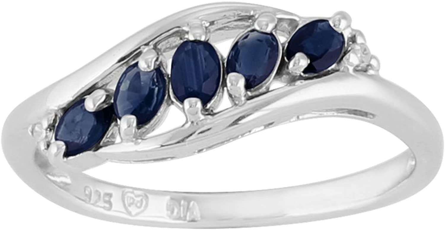 Sterling Silver 0.43ct Natural Sapphire & Diamond Contemporary Five Stone Ring