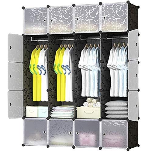 BRIAN & DANY Armadio Modulare con 20 Cubi, Scaffale Componibile con Ante, Guardaroba Organizzatore Economico, Strutture per Cabine in Plastica, 148 x 47 x 185 cm