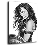 Gal Gadot Wonder Woman Black and White Poster Poster Decorative Painting Canvas Wall Art Living Room Posters Bedroom Painting 20×30inch(50×75cm)