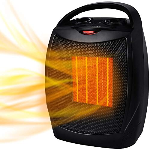 Portable Electric Space Heater 1500W/750W Personal Room Heater with Thermostat, Small Desk Ceramic Heater with Tip Over and Overheat Protection ETL Certified for Office Indoor Bedroom (Black)