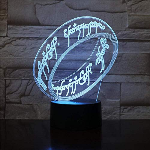 3D Slideshowsupreme Lord of The Rings 3D Colorful Night Light Remote Control Movie Ring Around The King Doll Led Bedroom Children Small Table Lamp