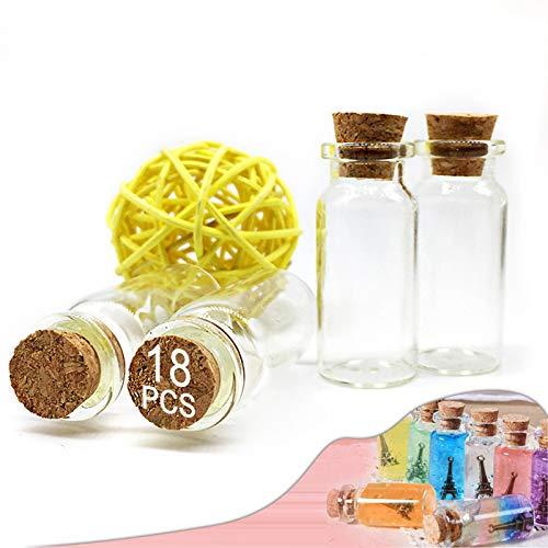 Loyalland 18 Stück Mini Glasflaschen mit Korken klein Gläser, 10ml Leere Glasflasche, für DIY Dekoration, Hochzeit, Sand, Düfte usw