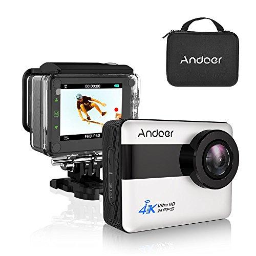 """Andoer Action Cam 4K WiFi Full HD 1080P 20MP Grande Touchscreen LCD da 2.31 """" Impermeabile 30m Subacqueo Action Sport Camera con Custodia Impermeabile e Kit Accessori per Sport Esterni"""