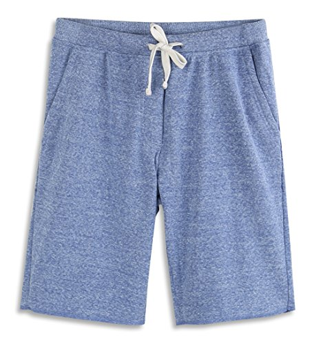 HARBETH Men's Casual Soft Cotton Elastic Fleece Jogger Gym Active Pocket Shorts Blue Melange M