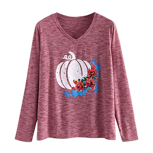 Halloween Pullovers Costumes for Women Long Sleeve Pumpkin Letters Print Loose V Neck T Shirt Blouse for Daily Wear