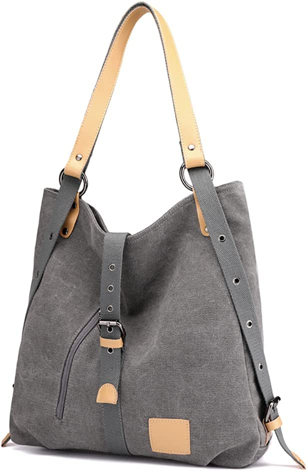 Tikway Convertible Backpack for Women, Canvas Hobo Handbag Tote Shoulder Bag for School Office Travel-Grey