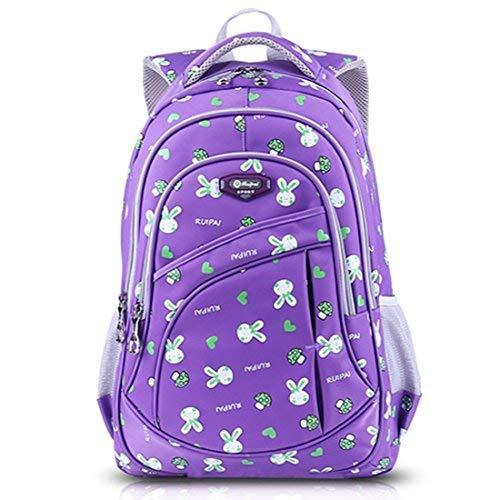 AnKoee zaino scuola bambina elementare Zaino Borsa Backpack Zainetto Zaini Scolastici Zainetti per Bambini Ragazza (Viola)