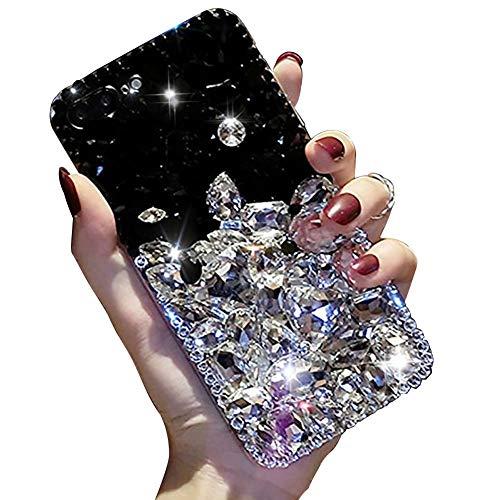 Miagon Glänzend Hülle für Xiaomi Mi Note 10 Lite,3D Handschlaufe Glitzer Bling Strass Hülle Diamant Transparent Handyhülle Bumper Case Tasche Schutzhülle,Schwarz Klar
