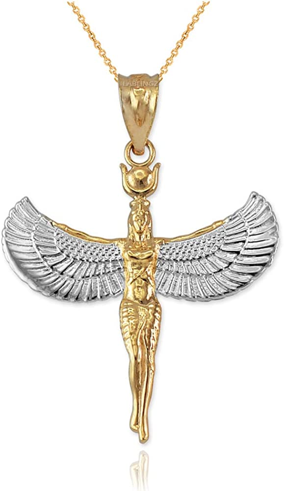 14K Two-Tone Yellow Gold Isis Egyptian Goddess Pendant Necklace (18