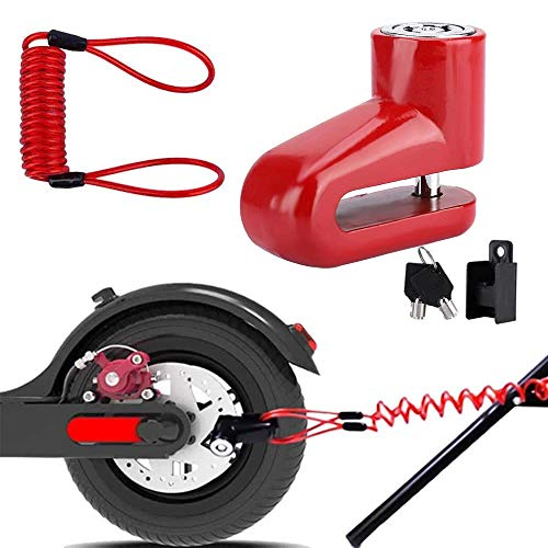 Anti-Diebstahl-Scheibenbremse Räder sperren mit Stahldraht für Xiaomi Mijia M365 Elektroroller Skateboard Diebstahlwarnanlage für Motorräder Disc Lock, Disc Brake Lock für Elektroroller (Rot)