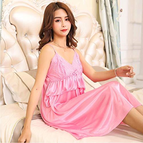 Summer Sling Nightdress Dessous Ice Silk Lace Stitching Home Kleidung Frauen Nachtwäsche Kleider