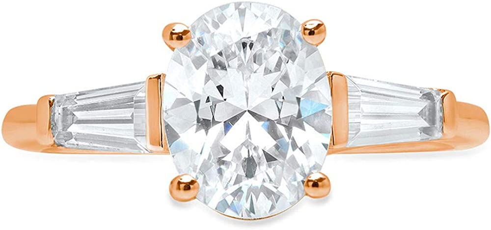 2.5 ct Oval Baguette cut 3 stone Solitaire Accent Genuine Flawless White Lab Created Sapphire Gemstone Engagement Promise Statement Anniversary Bridal Wedding Ring Solid 18K Rose Gold