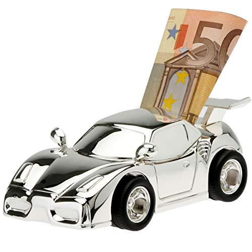 SILBERKANNE Spardose Auto Rennwagen12x6 cm Silber Plated Premium versilbert. Mit schicker Geschenkverpackung