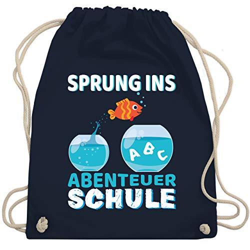 Shirtracer Einschulung und Schulanfang - Sprung ins Abenteuer Schule Aquarium - Unisize - Navy Blau - Geschenk - WM110 - Turnbeutel und Stoffbeutel aus Baumwolle