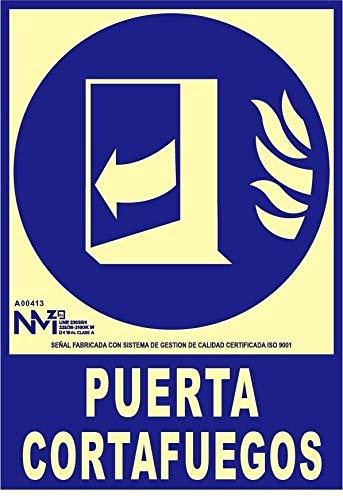 NM RD00113 - Señal Luminiscente Puerta Cortafuegos Clase B PVC 0,7mm 21x30cm con CTE, RIPCI y Apto para la Nueva Legislación