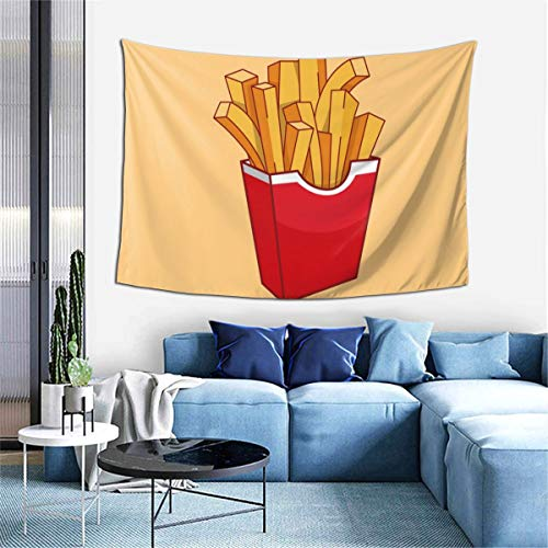 Cartoon French Fries Fast Foods Tapestry,Bohemian Tapestry Wall Hanging Tapestries Tablecloths - Decorations Home Decr Art Blanket for Living Room Bedroom Dorm Room 40x60 Inches