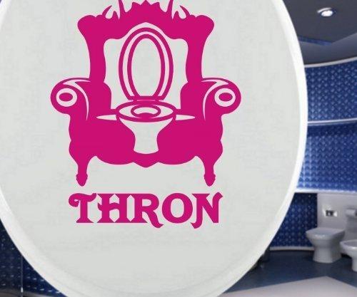 Toilettendeckel Aufkleber, THRON Sessel Tür Bad Spruch Türaufkleber WC Deckel Tattoo Badezimmer Klo Wand Dekoration 3C087, Farbe:Schwarz Matt, Hohe:25cm