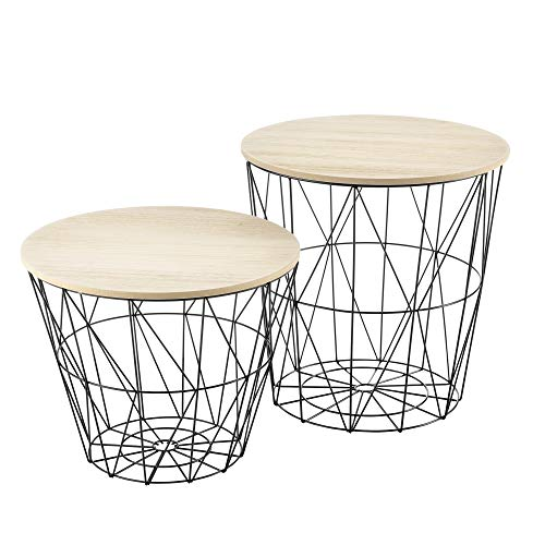 [en.casa] 2er Set Metallkorb Beistelltisch mit abnehmbare Tischplatten Couchtisch Tablettisch Sofatisch Wohnzimmertisch 2 Beistelltische