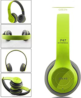 Over Ear P47 WIFI Wireless Bluetooth4.1 Headphones Mic Folding Stereo FM Headset (Green)
