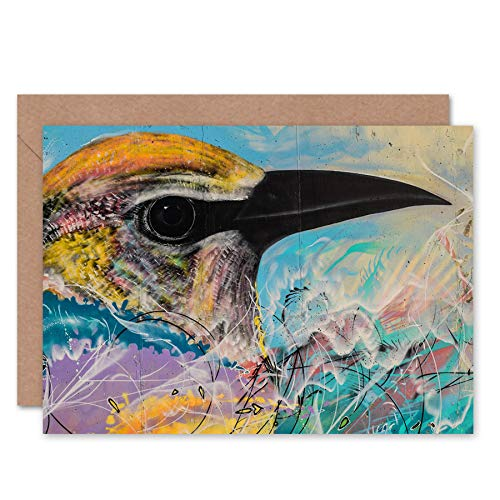 FINE ART PRINTS Bird Colorful Graffiti Painting Sketch Greeting Card with Envelope Inside Premium Quality Oiseau La Peinture Esquisser