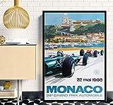 PWERWOTAM Kunst Poster Super Rennwagen F1 Monaco Retro