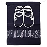 Shoe Bag,Household Travel Dust-Proof Shoe Organizer Bags with Drawstring Transparent Window Waterproof Non-Woven Travel Shoes Storage Bag Case Organizer (Navy Blue S)