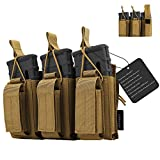 CS Force Triple Mag Pouch, Molle Open-Top Triple Magazine Pouch, Tactical Rifle/Pistol Mag Holder for M4 M16 AK47 AK74 AR G36 Magazines Glock M1911 Mags, 1000D Nylon, Tan