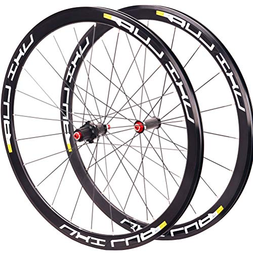 CHICTI Rennrad Laufradsatz 700C Doppelwandige Fahrradfelge 40mm 8-11Geschwindigkeit Felgenbremse V-Brake Kassette Nabe Abgedichtetes Lager QR