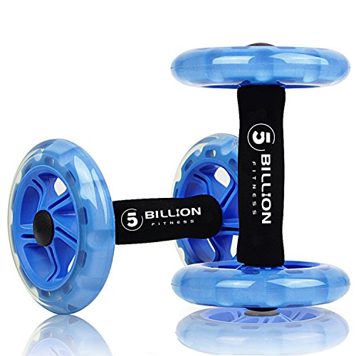 5BILLION Dual Ab Wheel Roller Exercise Wheel with Extra Thick Knee Pad - Abs Core Abdominal Workout Fitness Wheel - Great for Home Gym, Abs Workout And Core Training (Blue)