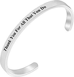 REEBOOOR Appreciation Gift Thank You for All That You Do Cuff Bracelet Thank You Gift for Nurse Teacher Coach Employee Work Group Team Gift