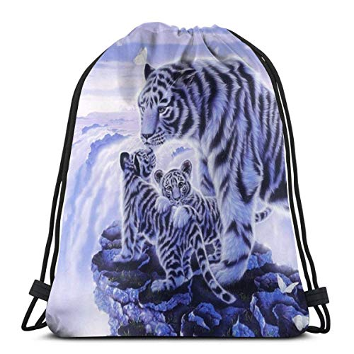 Snow Tiger Print Drawstring Bapa Sapa String Bag Cinch impermeable Nylon Beach Bag para gimnasio, compras, deporte yoga