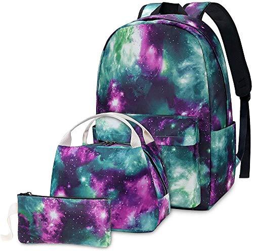 Backpack Set 3-in-1 Kids School Bag Laptop Backpack Lunch Bag Pencil Case Gift for Teen Boys Girls