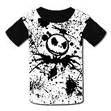 Camiseta, cómoda camiseta gráfica 3D para niños con diseño de calavera, camiseta de manga corta