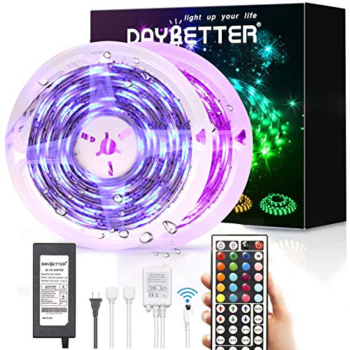 Led Strip Lights Waterproof, DAYBETTER 32.8ft LED Tape Lights Color Changing LEDs Light Strips Kit with 44 Keys Ir Remote Controller and 12v Power Supply for Indoor Outdoor Use