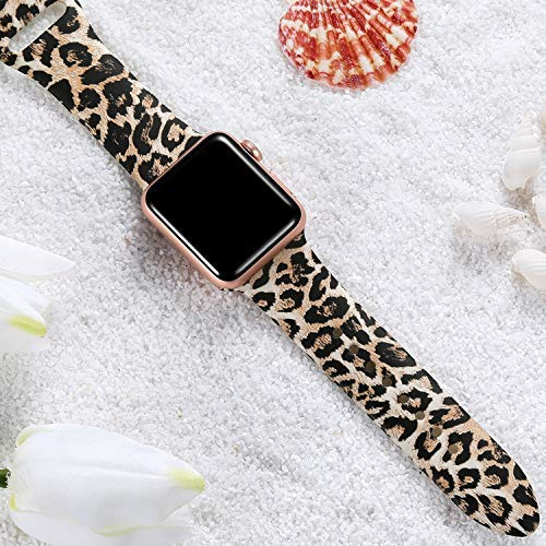 Laffav Compatible with Apple Watch Band 40mm 38mm iWatch Series 5 4 3 2 1 for Women Men, Classic Leopard, S/M 7