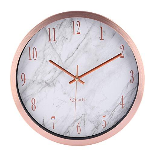 CT-Tribe Wanduhr Modern Lautlos, 12 Zoll(30,5cm) Modern Lautlos Wanduhr Uhr Wall Clock mit Marmor Linien - Roségold