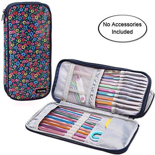"""Teamoy Tunisian Crochet Hook Case(up to 11"""" Long), Travel Organizer Bag for Afghan Crochet Hooks, Ergonomic Crochet Hooks, Knitting Needles and Accessories, Well Made, Large Capacity, Flowers Blue"""