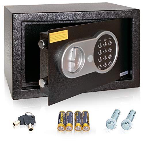 Anadol Caja fuerte electrónica con cerradura de combinación y llave, caja fuerte de seguridad, caja fuerte de acero 20 × 31 × 20 cm, peso 4,5 kg – 8,5 litros