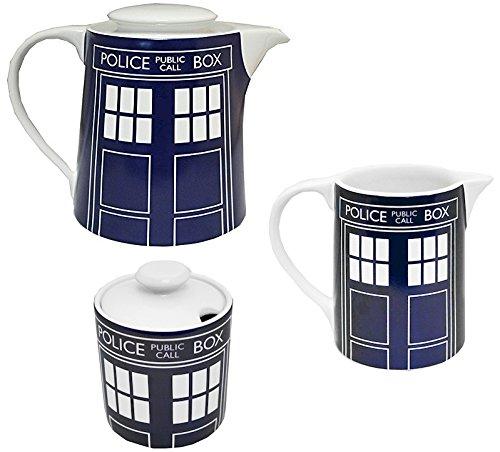 BBC Worldwide Doctor Who Tardis Teekanne, Zuckerdose und Milchkännchen, Kombi-Set