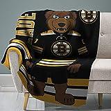"Sleep Squad Boston Bruins Blades 60"" x 80"" Rachel Plush Blanket –A NHL Mascot Super-Soft Throw"