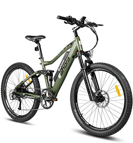 eAhora AM100 Plus 27.5 Inch 48V Mountain Electric Bicycle Dual Hydraulic Brakes Electric Bikes for Adults, Air Full Suspension 350W EBikes with Removable Battery, Recharge System, 9-Speed Gear