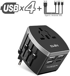 Ewin 海外変換アダプタ200ヶ国家対応 4つUSB スマホ充電機 急速充電 ACアダプター電源タップ USB コンセント 過負荷保護 1年メーカー保証 日本語取説付属