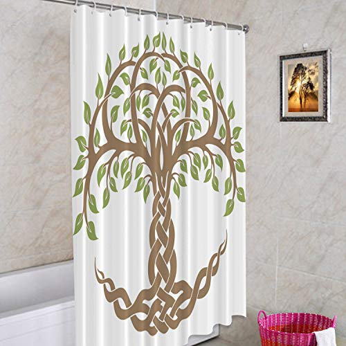 Batmerry Celtic Tree of Life Decorative Shower Curtain, Celtic Knot in Green Shower Curtain Cute Long Wide Shower Curtain with Rust Proof Grommets for Bathroom Farmhouse Bathtub Waterproof Washable