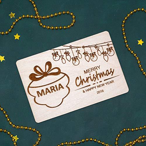 Eyrrme - Tarjeta de felicitación navideña Personalizada de Madera con Texto en inglés Merry Christmas