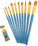 Suproot Paint Brushes Set, 10pcs Paintbrushes Flat/Shader Tip for Watercolor, Oil, Acrylic Painting and Craft, Nail, Face Paint (Blue)