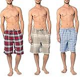 Andrew Scott Men's 3 Pack Light Weight Cotton Flannel Soft Fleece Brush Woven Pajama/Lounge Sleep Shorts (3 Pack - Assorted Classics Plaids, X-Large)